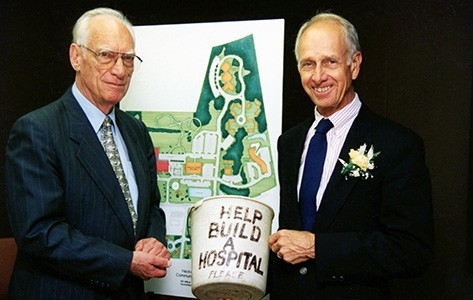 Hackettstown hospital founders hold donation bucket