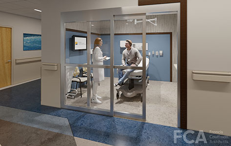 Architect's rendering of what an exam room will look like in the new emergency department at Chilton Medical Center