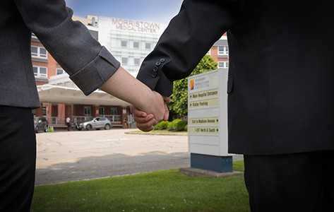 Holding hands at Morristown Medical Center