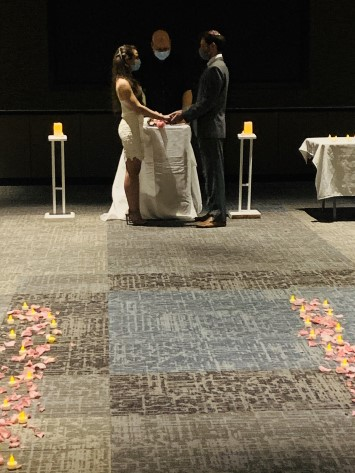 Laura and Daniel are married at Overlook Medical Center before a small group of family