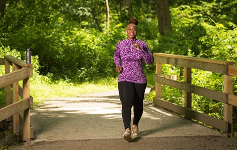 Woman walking after bariatric surgery