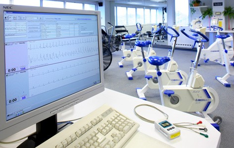 Cardiac rehab exercise equipment and monitor