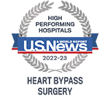 Recognized as high performing for Heart Bypass Surgery by US News