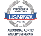 Recognized as High Performing for Abdominal Aortic Aneurysm Repair by US News