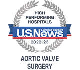 Recognized as a high performing hospital for Aortic Valve Surgery by US News