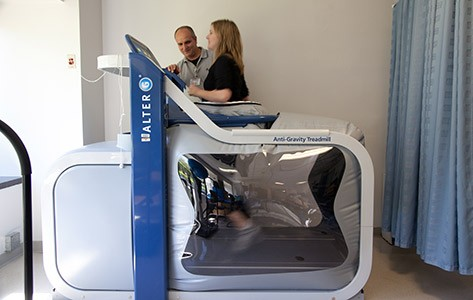 Physical therapy on the anti-gravity treadmill