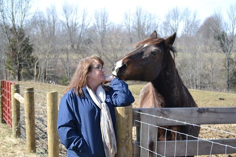 Shannon visits a horse in its paddock.