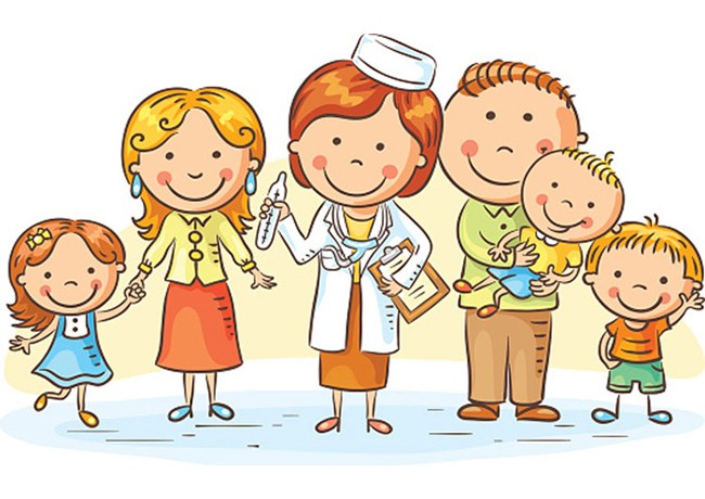 Cartoon pediatrician and family