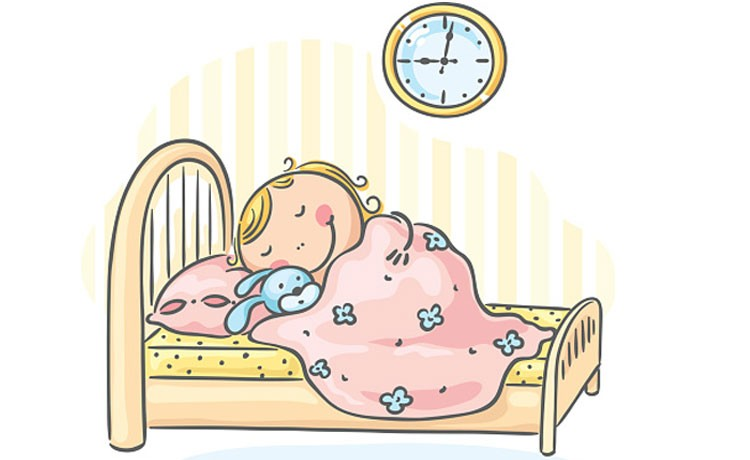 Cartoon baby sleeping in bed
