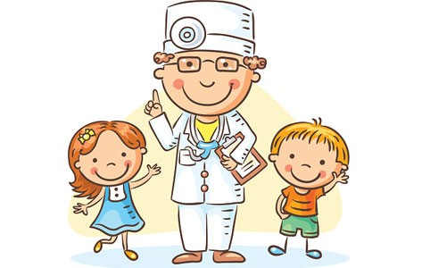 Cartoon pediatrician with child patients
