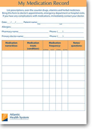 my medication record printable medication record atlantic health. Black Bedroom Furniture Sets. Home Design Ideas