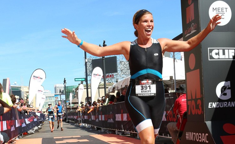 Stacey crosses finish line after spine surgery